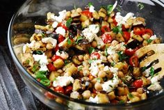 Roasted Eggplant Salad with Goat Cheese - seriously so delicious!! Nate was skeptical at first, but loved it once he tasted it. ;)