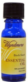 Birch Sweet by Wyndmere. $6.31. Birch Sweet- Betula lenta.. 10 ml (1/3 fl. oz). Pure therapeutic essential oils. Recommended Use : Because essential oils are highly concentrated, they need to be used with care. Apply them by the drop. The general rule is to dilute them with carrier oils such as jojoba, sweet almond, or grape seed when used on the skin. Personal Care Bath: - Add no more than 8-10 drops to your bath. Use less if your skin is sensitive. Stir the water bri...