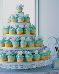 Blue love tower mini Cupcakes