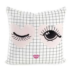 Miss Etoile Hearts & Eyes Grid Cotton Cushion - Trouva