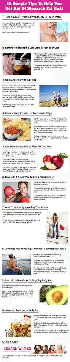 10 Simple Tips To Help You Get Rid Of Stomach Fat Fast! [Infographic]
