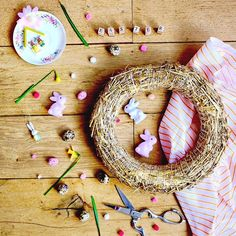 Easter wreath in the making