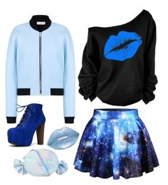 """Blue galaxy"" by max-the-glitter-lord ❤ liked on Polyvore featuring WithChic, Lime Crime, Balenciaga, Nila Anthony and Speed Limit 98"