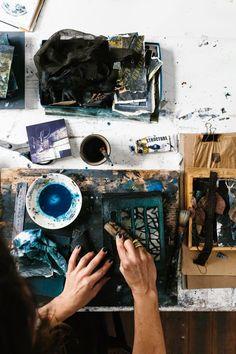 Artist Helene Athanasiadis at work in her studio.