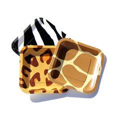 Giraffe Print Party Paper Plates | Amari\'s safari themed shower ...