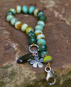 Emerald knotted bracelet - Boho chic fresh summer greens, flower charm rustic jewelry