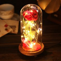 """Create magical moment with this beautiful room decor. """"Beauty and the Beast"""" Rose in a Glass Dome ( Easter Basket Ideas for Teen Girls)"""