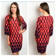 Red and Navy Geometric Print Ombre Tunic Dress This lightweight silky tunic dress has a vibrant print and a keyhole neck. It is made of 95% polyester/ 5% spandex for comfort. It comes in sizes 4, 6, 8, 10, 12, and 14. Boutique Dresses