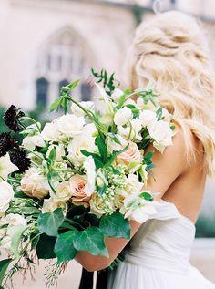 Organic rose and ranunculus bouquet