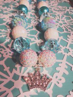 Elsa Necklace, Frozen Necklace, Disney Frozen Necklace, Disney Kids Necklace, Chunky Necklace, Chunky Bead Necklace, Child Girls Necklace