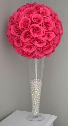FUCHSIA/HOT PINK Flower Ball Wedding Centerpiece by KimeeKouture