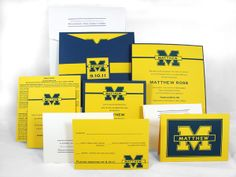 Football Team Yellow and Blue Sleeve Invitation Suite paperworksandevents.com #custominvitation #barmitzvah #michiganfootball #rsvp #thankyounote #bellyband #paperworksandevents