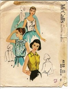 1950s blouse patterns. by Til the sun goes down Vintage, Retro and Original clothing and fabric specialists