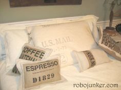 """If you are ever lucky enough to find """"US mail canvas bags in good condition at a reasonable price, be sure to scoop them up.""""   Mail Bag Pillow/cushion by Margo"""
