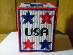 Plastic Canvas USA Tissue Box Cover  696 by ritascraftsandmore on Etsy