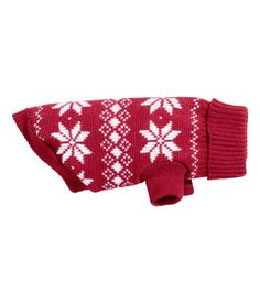 Jacquard-knit dog sweater in a cotton blend with a festive pattern. Ribbed collar and sleeves at front. Length at hem 10 in., collar circumference 9 in.