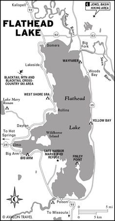 flathead lake: 370 feet deep,  appx.. 30 miles long by 15 miles wide