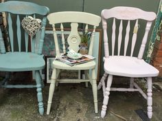 Old Summerhouse vintage mismatched chairs in pretty French shades perfect for your cosy autumn and winter vintage dining projects! Official supplier to The Great British Bake Off. £52 per chair to order: visit www.etsy.com/shop/theoldsummerhouse