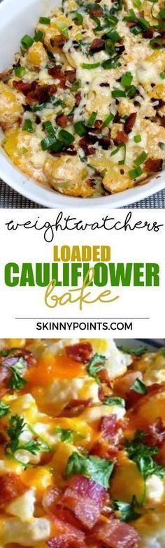 favorite recipe source for healthy food [Paleo, Vegan, Gluten free] Loaded Cauliflower Bake With Only 2 Weight watchers Smart PointsLoaded Cauliflower Bake With Only 2 Weight watchers Smart Points Weight Watchers Sides, Plats Weight Watchers, Weight Watchers Smart Points, Weight Watcher Dinners, Weight Watchers Appetizers, Weight Watchers Soup, Weight Watchers Chicken, Ww Recipes, Veggie Recipes