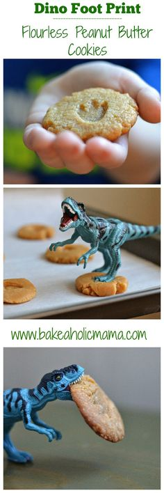 Bakeaholic Mama: Flourless Dinosaur Peanut Butter Cookies