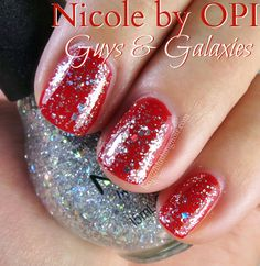 Nicole by OPI: Guys and Galaxies (shown over OPI What's Your Point-settia?, which I do not own)