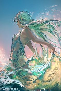 Yuumei Art, Wave Illustration, Dark Fantasy Art, Pretty Art, Anime Art Girl, Anime Girls, Beautiful Artwork, Art Inspo, Amazing Art
