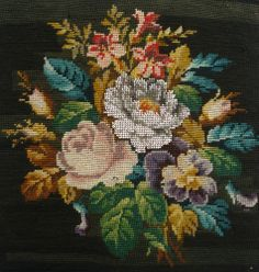 ANTIQUE VICTORIAN BERLIN WOOL AND BEADWORK BEAD WORK FLORAL PANEL PICTURE