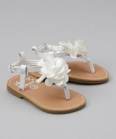 The 22 best sandals with flowers images on pinterest beautiful take a look at this white flower sandal by stepping stones little girl shoes baby mightylinksfo