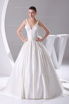 wedding dress,wedding dresses,wedding dress,wedding dresses ball gown satin pongee v-neck natural waist chapel train lace-up sleeveless appliques beading ivory wedding dress Wedding Dress 2013, V Neck Wedding Dress, Cute Wedding Dress, Fall Wedding Dresses, Colored Wedding Dresses, Bridal Dresses, Wedding Gowns, Ivory Wedding, Weeding Dress