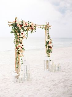 Birch wedding ceremony arch with flowers Looking for ideas on how to decorate your beach wedding arch? Look no further! We've put together fresh ideas–and lots of photos–to inspire your beach wedding ceremony arch. Wedding Ceremony Arch, Beach Wedding Reception, Beach Wedding Flowers, Beach Ceremony, Beach Wedding Decorations, Beach Wedding Favors, Wedding Venues, Beach Wedding Arches, Wedding On The Beach