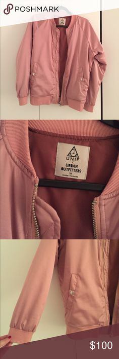 UNIF x Urban Outfitters Pink Silk Bomber Light pink bomber. Collab between UNIF and urban outfitters. Size medium - runs true to size. Excellent condition. Material is polyester. Dry clean only Urban Outfitters Jackets & Coats Puffers