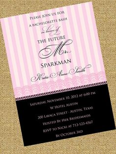 Victoria's Secret Inspired Bachelorette Invitation! The lace and script font are a perfect way to begin a bachelorette weekend!