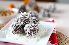 Gluten Free - dairy Free -Cocoa-Nut Almond brownie balls! My favorite paleo primal recipe yet! Just use unsweetened coconut and make little baby balls. Ill be making these daily <3