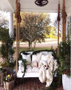 Awesome 41 Stylish Apartment Balcony Decor For Christmas. Balcony Swing, Porch Swing, Christmas Porch, Christmas Decor, Apartment Balconies, Porch Decorating, Decorating Ideas, Luxury Interior Design, Farmhouse Decor