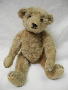 """Antique Vintage 13"""" MOHAIR TEDDY BEAR Jointed WELL LOVED   eBay"""