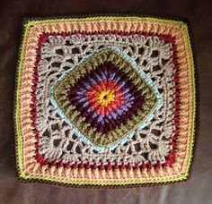 """Ravelry:  Ribs-n-Lace 12"""" crochet Afghan Block Pattern by Joyce Lewis. Free pattern. Beautiful in colors or as a solid."""