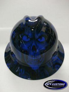 Dana... NEW Custom MSA V GARD Full Brim Hard Hat Blue NEW Hades Skull Pattern #MSA