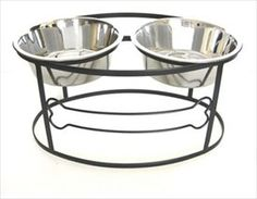 """Bone Double Diner - Elevated Pet Bowl - 12"""" Tall"""