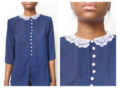 Pearl Button PeterPan Collar Blouse size  M by ShopAudella on Etsy, $55.00
