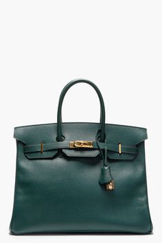 HERMES VINTAGE Dark Green Courchevel Leather Birkin Tote