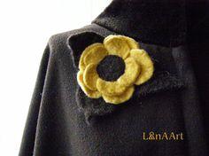Yellow felted flower brooch with dark brown leaves by LanAArt, $25.00