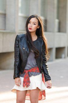 tartan shirt and leather jacket