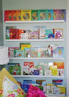 I gave you guys a sneek peek of these bookshelves when I posted about the Jelly Roll Floor Cushion, and had already planned to have the room completed by now. In the finished post, I was going to tell you all about these shelves…but, alas…it's the room that keeps on going. But, all the emails ….