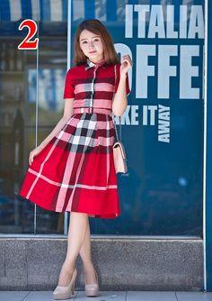 Mã SP: A1024 Đầm vintage caro đỏ-A1024 Giá: 410.000đ - Màu sắc: như hình - Chất liệu: buberry - Kích thước: S/M/L/XL