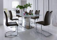 Esstisch Helios Weiß HG mit Stühlen Kölner SW 5759. Buy now at https://www.moebel-wohnbar.de/essgruppe-margit-esstisch-ausziehbar-weiss-mit-8-stuehlen-braun-5759.html