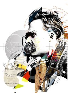 Image by Tulio Fagim - Illustration from Brazil Frederick Nietzsche, Pop Art Images, Art Jokes, Abstract Portrait, Foto Art, Science Art, Cool Artwork, Collage Art, Art Drawings