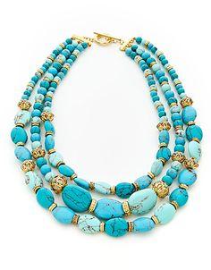 Semi-Precious Multi Row Necklace