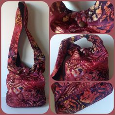 Hippy Satchel, Hobo Bag, Shoulder, Purse, Beach, Diaper, Hippie, Gypsy, Tote, Tie Dye Batik Multi Color Copper
