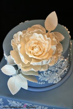Beautiful blue cake with white peony. So classic!