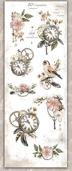 Watercolor collection - Legend by Lisima on Key Drawings, Clock Drawings, Tattoo Drawings, Creative Market, Grandfather Clock Tattoo, Clock Tattoo Design, Clock Art, Clock Painting, Steampunk Clock
